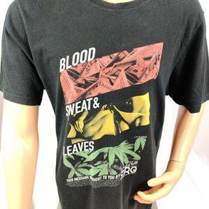 "LRG MEN'S ""BLOOD, SWEAT & LEAVES"" T-SHIRT, Black s"